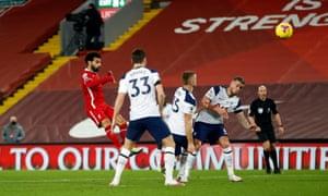 Salah scores the opening goal.