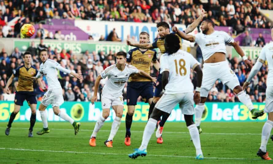Arsenal's Olivier Giroud scores at Swansea City
