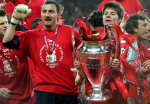 Alonso, right and Jerzy Dudek celebrate with the European Cup in Istanbul.