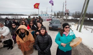 First Nations bands form a blockade as part of a day of action to call attention to missing and murdered indigenous women.