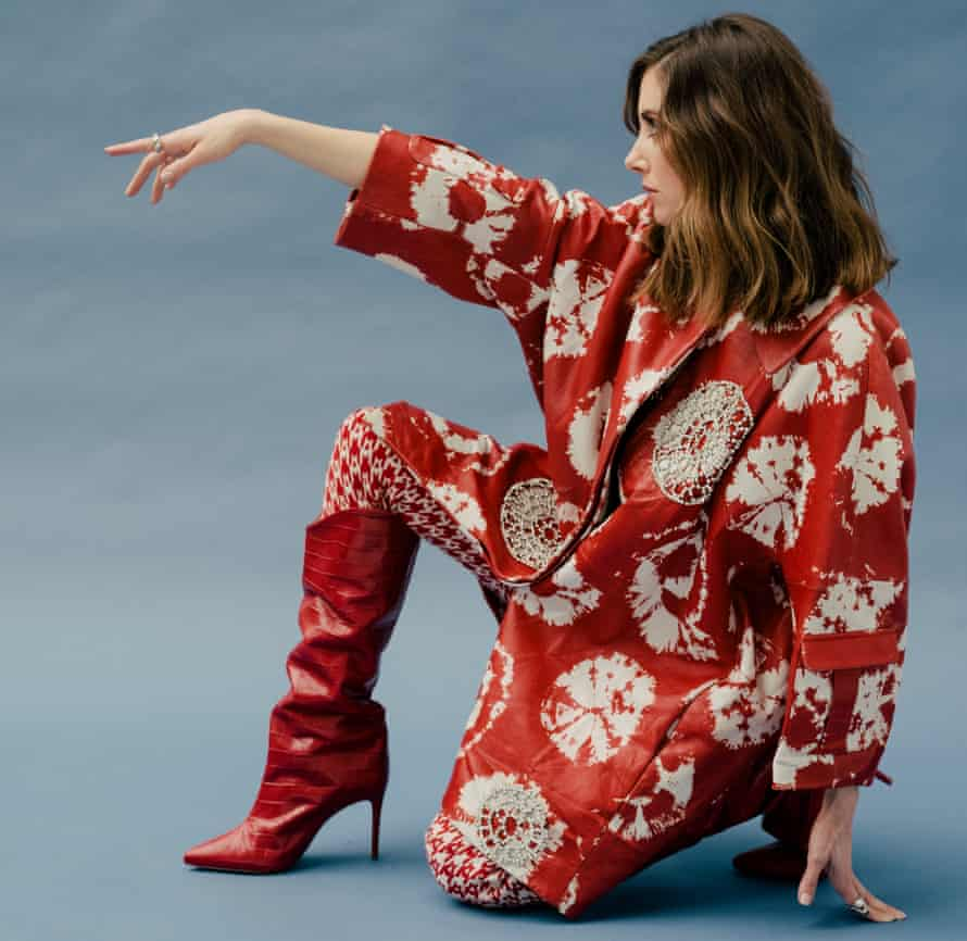 'Studying drama was my opportunity to be the freest I had ever been': Alison Brie wears trousers and jacket by Area, top by Norma Kamali, shoes by Schutz, rings by Ananya, Lady Grey and Pamela Love.