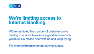 a service message from TSB online