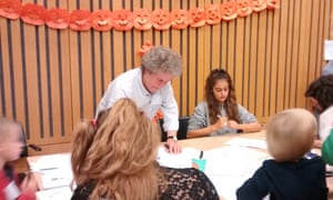 Making Halloween cards with Kipper Williams at the Guardian cartoon and art family day