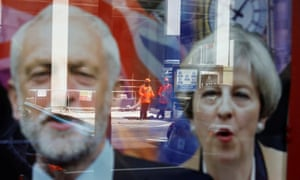 Workers reflected in a betting shop window in London.