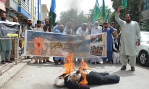 Pakistani activists burn an effigy of Narendra Modi during a 'Kashimir solidarity protest' in Quetta, Pakistan, on 9 August 2019.