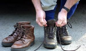 Lacing up walking boots