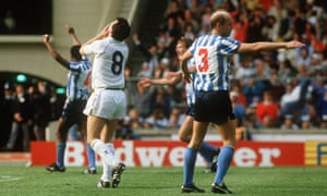 Greg Downs (right) and his Coventry teammates celebrate at the final whistle as Coventry win the cup for the first time in their history.