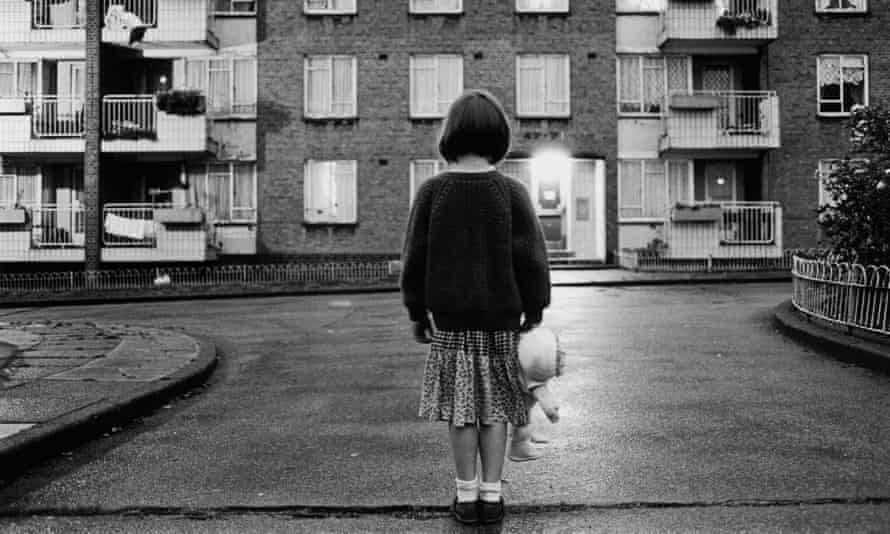 young girl on housing estate