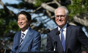 Shinzo Abe and Malcolm Turnbull talk to the media at Kirribilli House in Sydney.