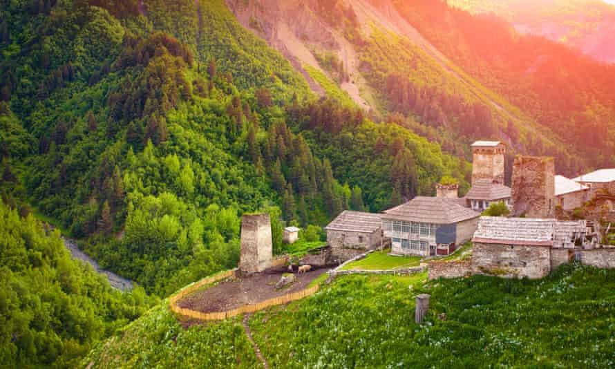 A village in Upper Svaneti, Georgia, Europe. Caucasus mountains. Retro style