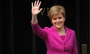 Scotland's First Minister and SNP leader Nicola Sturgeon waves to the media in Edinburgh, Scotland, on May 6, 2016.  Scottish nationalists won a third term in power but lost their outright majority Friday in one of a series of local and regional elections seen as a key test for Labour leader Jeremy Corbyn. / AFP PHOTO / Andy BuchananANDY BUCHANAN/AFP/Getty Images