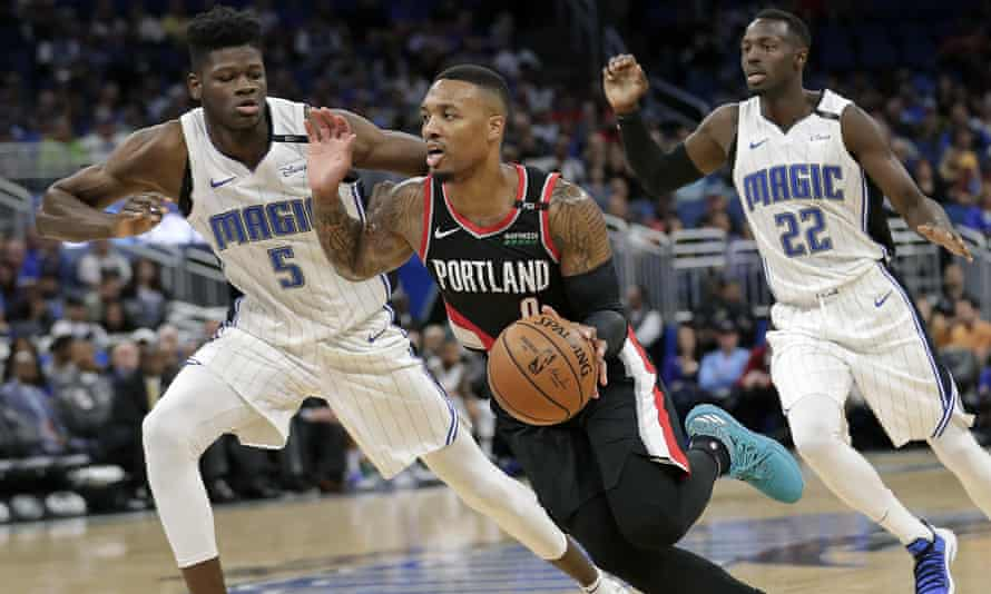 Damian Lillard of the Portland Trail Blazers, whose will travel more than 3,500 miles to play road games in Orlando, Miami and Indiana.