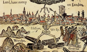"""Death chases Londoners from their city, from a 17th century pamphlet on the effects of the plague."""