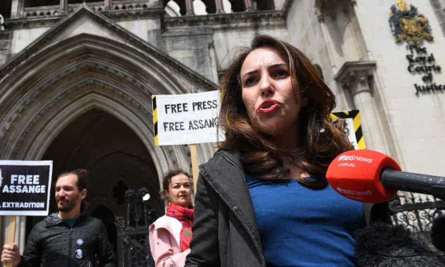 Julian Assange's partner, Stella Moris, speaks outside the high court in London on Wednesday