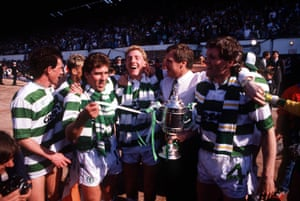 Scottish FA Cup Final, Hampden Park, 14th May 1988, Celtic 2 v Dundee United 1, Celtic's L-R: Billy Stark, Mark McGhee, Frank McAvennie, Manager Billy McNeill, and Roy Aitken celebrate their victory