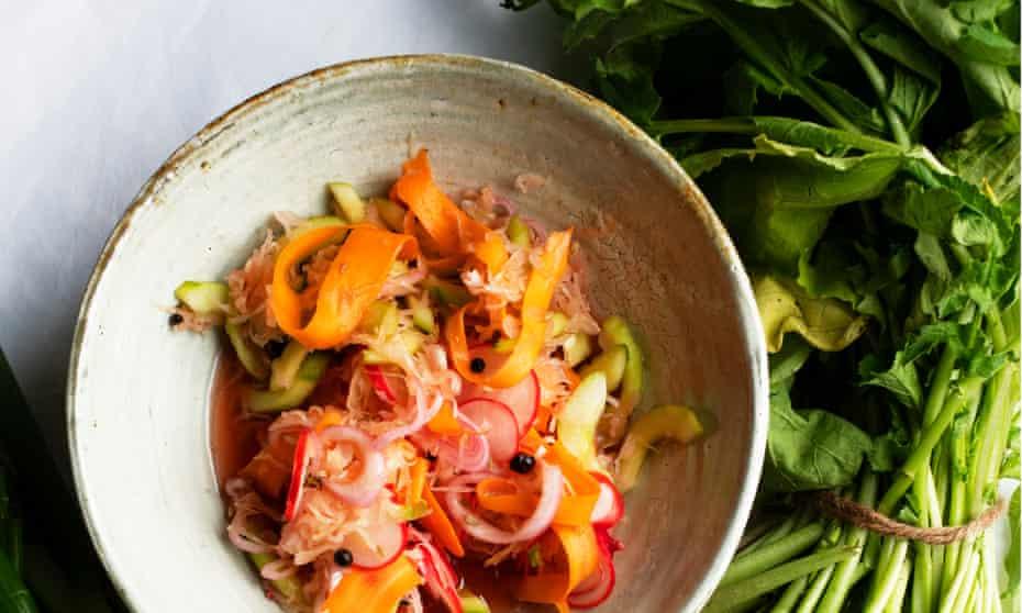 Summer pickled vegetables in a bowl