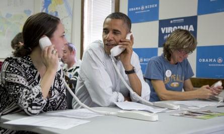 Barack Obama making campaign calls in 2012.
