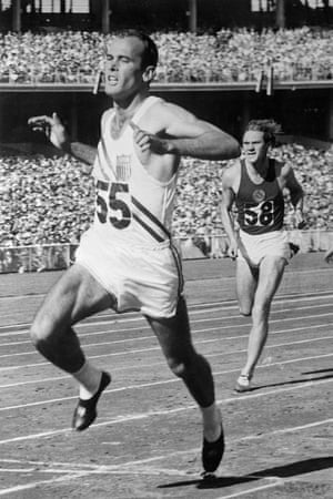 Texas-born sprint ace Bobby Morrow, shown here winning heat no. 12 of the 100 meter dash in the 1956 Olympics preliminaries. Russia's I. Konovalov is on Morrow's heels.