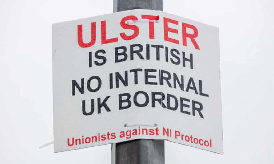 A unionist poster attached to a post at the port of Larne in County Antrim