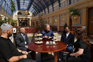 Keir Starmer (centre) meeting hospitality workers at the Mezzei Café in the Winter Gardens in Blackpool today.
