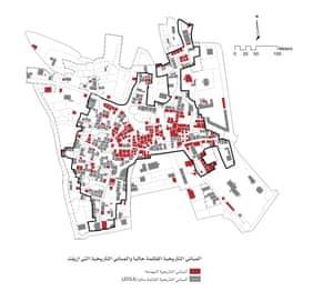 A map from 2013 of Ramallah's historical buildings. Red shows demolished buildings and the grey shows those still standing