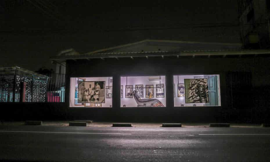 At night, with a lit interior, the ANO Gallery, Accra, Ghana