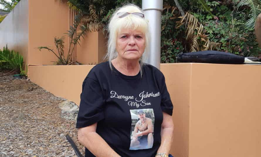 Dwayne Johnstone's mother Kerry. Dwayne, a Wiradjuri man, was cuffed and shackled when he was shot while trying to escape in Lismore, northern NSW.