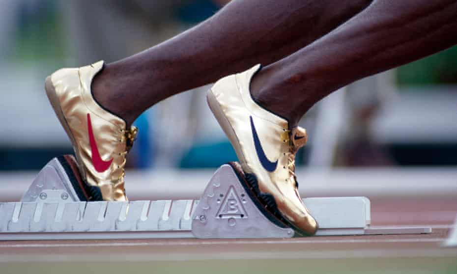 Michael Johnson in his gold Nikes at the 1996 Olympics.