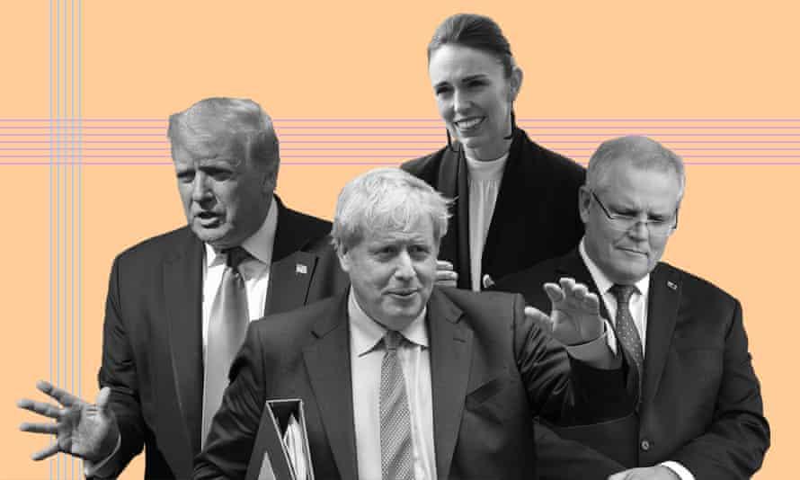 Donald Trump, Boris Johnson, Scott Morrison Jacinda Ardern