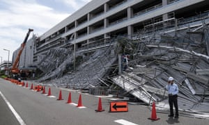 Damaged scaffolding at the construction site of a parking garage at Haneda airport following the passage of Typhoon Faxai.