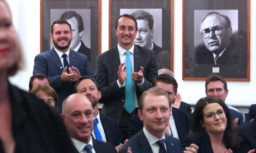 The new members for Herbert, Phillip Thompson, left, and Wentworth, Dave Sharma, are introduced by Scott Morrison to the Liberal party room