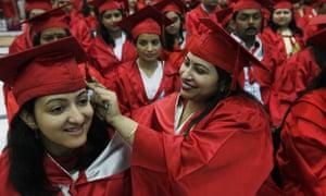 Students graduating from Delhi University 2014