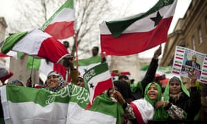 British-based Somalilanders waving the self-declared republic's flag at a rally near Downing Street in 2012.