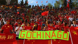 Chinese fans show their support during the Cameroon match