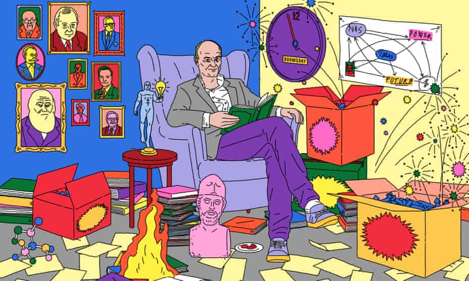 illustration of dominic cummings in an armchair among his many intellectual inspirations