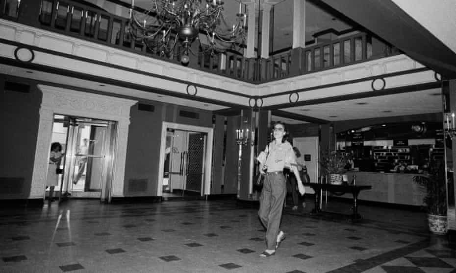 A woman walks through the lobby of the Barbizon Hotel for Women at 140 East 63rd Street in New York, Oct. 15, 1981. (AP Photo/Dave Pickoff)