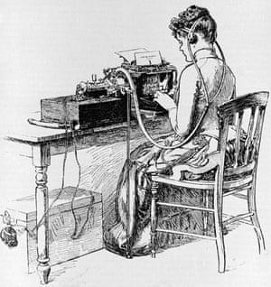 A wireless operator typing a telegram
