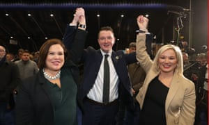Sinn Féin's John Finucane celebrates toppling the DUP's Nigel Dodds with party leader Mary Lou McDonald, left, and deputy leader Michelle O'Neill.