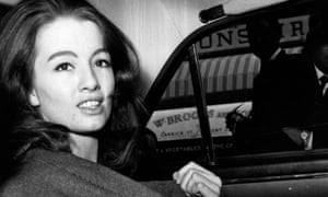 Christine Keeler in a car after leaving court during the trial of the society osteopath Stephen Ward in 1963.