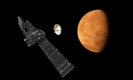 An artist's impression of Schiaparelli separating from its orbiter