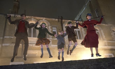 Mary Poppins Returns with, from left, Lin-Manuel Miranda, Pixie Davies, Joel Dawson, Nathanael Saleh and Emily Blunt.