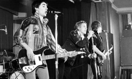 Sex Pistols Glen Matlock (left), Johnny Rotten (centre) and Steve Jones performing live in 1976.