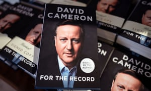 photograph showing a book written by former British prime minister David Cameron called For The Record