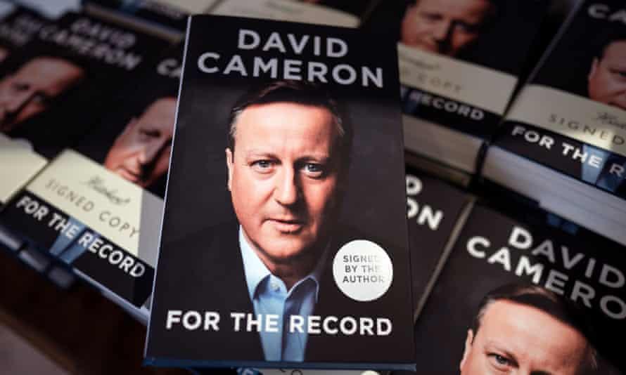 David Cameron's memoir displayed in a London bookshop on release day.