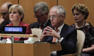 Malcolm Turnbull with the Australian contingent at the UN