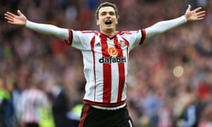 Adam Johnson celebrates scoring their first goal of the game from the penalty spot.
