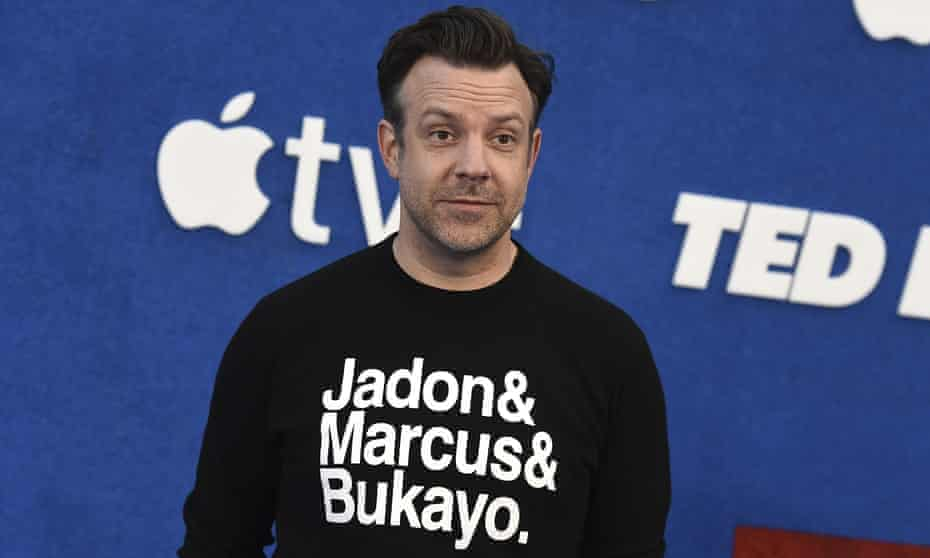 Solidarity ... Sudeikis in support of Marcus Rashford, Jadon Sancho and Bukayo Saka at the premiere of the second season of Ted Lasso.