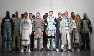 Models line up at the Astrid Andersen catwalk show at London men's fashion week