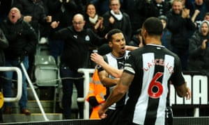 """Newcastle United v Chelsea, Premier League - 18 Jan 2020<br>EDITORIAL USE ONLY No use with unauthorised audio, video, data, fixture lists (outside the EU), club/league logos or """"live"""" services. Online in-match use limited to 45 images (+15 in extra time). No use to emulate moving images. No use in betting, games or single club/league/player publications/services. Mandatory Credit: Photo by Craig Doyle/ProSports/REX/Shutterstock (10529659bf) Isaac Hayden (#14) of Newcastle United celebrates Newcastle United's first goal (1-0) as the corner flag, kicked by Matt Ritchie (#11) of Newcastle United flies into the stand and strikes a Newcastle United supporter during the Premier League match between Newcastle United and Chelsea at St. James's Park, Newcastle Newcastle United v Chelsea, Premier League - 18 Jan 2020"""
