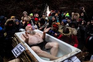 Older man in a bathtub